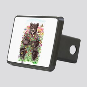 Black Bear with Flowers Hitch Cover