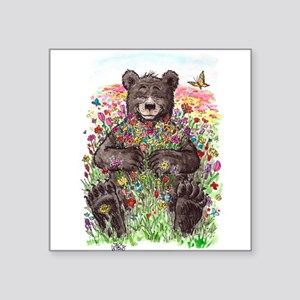 Black Bear with Flowers Sticker