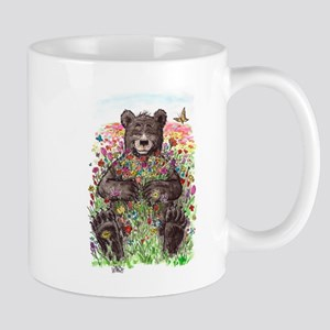 Black Bear with Flowers Mugs