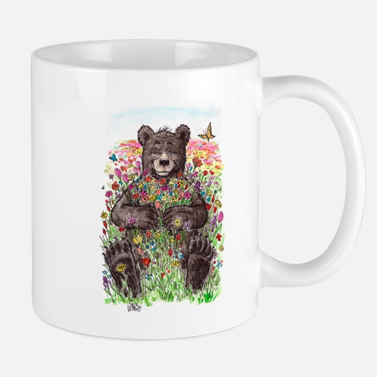 Black Bear with Flowers Mugs