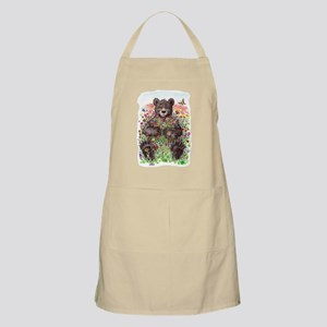 Black Bear with Flowers Apron