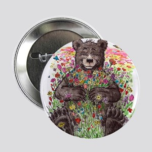 """Black Bear with Flowers 2.25"""" Button"""
