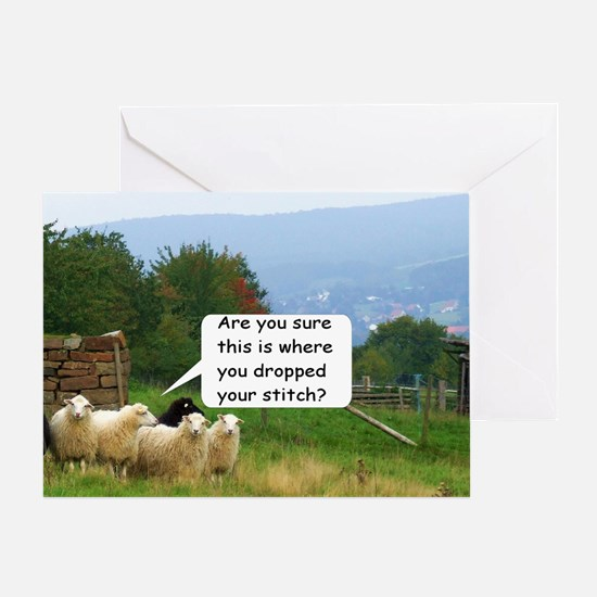 Dropped Stitch Knitting Sheep Greeting Card