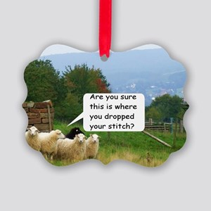 Dropped Stitch Knitting Sheep Picture Ornament