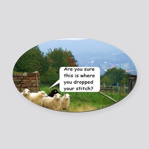 Dropped Stitch Knitting Sheep Oval Car Magnet