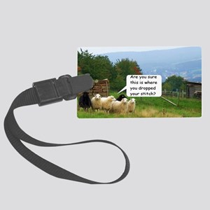Dropped Stitch Knitting Sheep Large Luggage Tag
