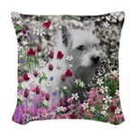 Violet White Westie Terrier Woven Throw Pillow