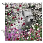 Violet the White Westie in Flowers Shower Curtain