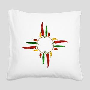 Chile pepper zia symbol Square Canvas Pillow