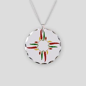 Chile pepper zia symbol Necklace Circle Charm