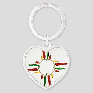 Chile pepper zia symbol Heart Keychain