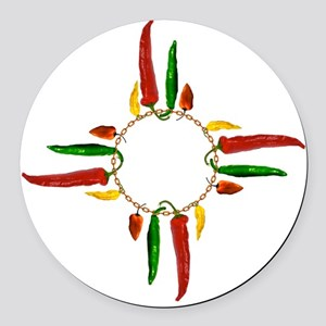 Chile pepper zia symbol Round Car Magnet