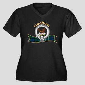 Graham Clan Women's Plus Size V-Neck Dark T-Shirt