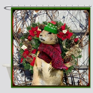Christmas Prairie dog Shower Curtain