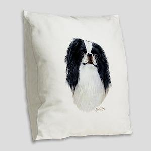 Japanese Chin Burlap Throw Pillow