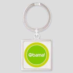 2-btn-obamapeace-green Square Keychain
