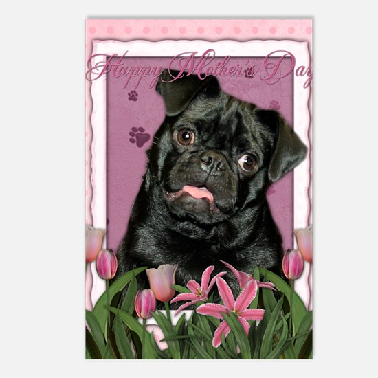 PinkTulips_Pug Postcards (Package of 8)