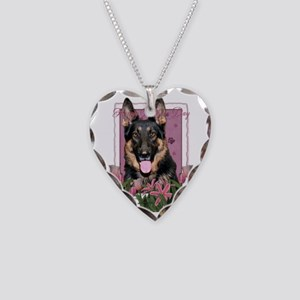 PinkTulips_German_Shepherd Necklace Heart Charm