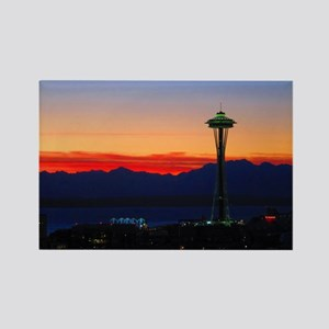 Seattle Sunset Over the Olympics Rectangle Magnet