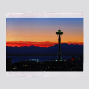 Seattle Sunset Over the Olympics Throw Blanket