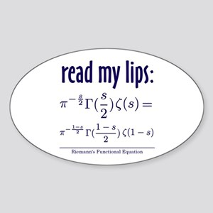 Riemann's Functional Equation Oval Sticker