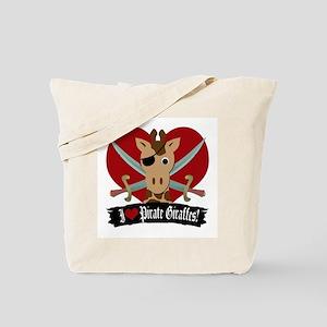 """""""I Love Pirate Giraffes"""" Tote Bag"""