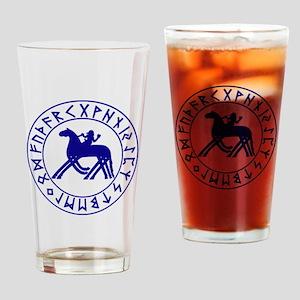 Sleipnir tshirt 10 by 10 Blue Drinking Glass