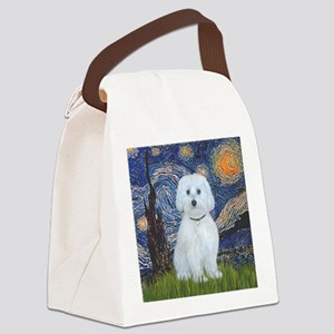 Starry Night - Maltese (B) - squa Canvas Lunch Bag