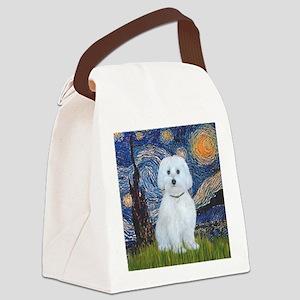 Starry Night - Maltese (B) - squa Canvas Lunch Bag