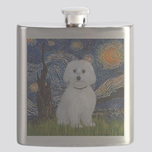 Starry Night - Maltese (B) - square Flask
