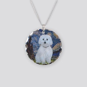 Starry Night - Maltese (B) - Necklace Circle Charm