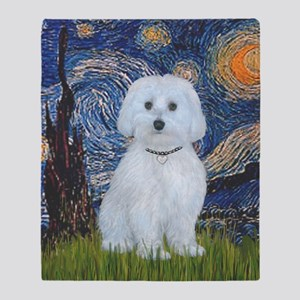 Starry Night - Maltese (B) - square Throw Blanket