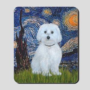 Starry Night - Maltese (B) - square Mousepad