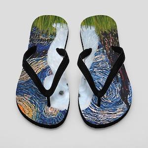 Starry Night - Maltese (B) - square Flip Flops