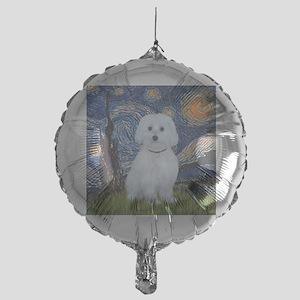 Starry Night - Maltese (B) - square Mylar Balloon