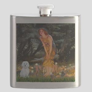 Mid Eve - Maltese (B) - square Flask