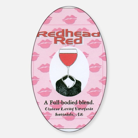 Redhead Red Faux Wine Label Sticker (Oval)