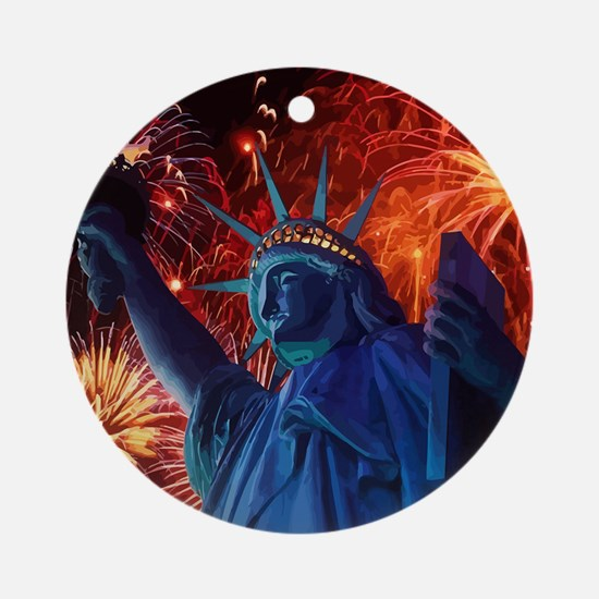 Lady_Liberty_Poster Round Ornament