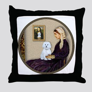 Whistlers Mom - Maltese (B) - round Throw Pillow