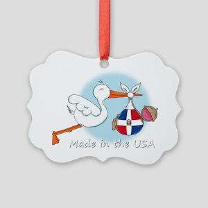 stork baby domin white 2 Picture Ornament
