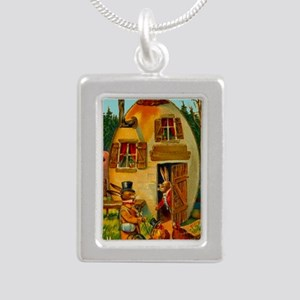 easter-egg-house Silver Portrait Necklace
