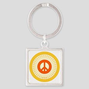 btn-orange-peace Square Keychain