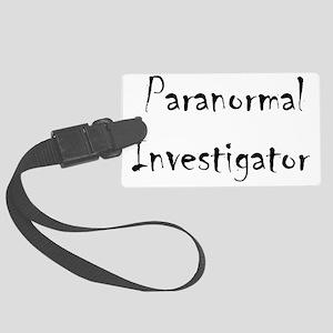 Paranormal Investigator - black Large Luggage Tag