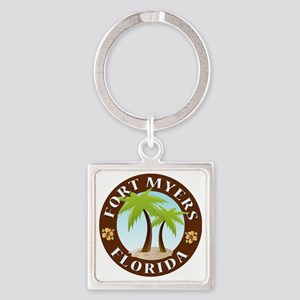 Palm-trees-Fort-Myers-Beach Square Keychain