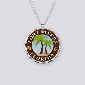 Palm-trees-Fort-Myers-Beach Necklace Circle Charm