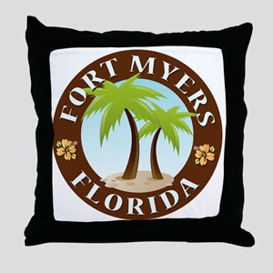 Palm-trees-Fort-Myers-Beach Throw Pillow