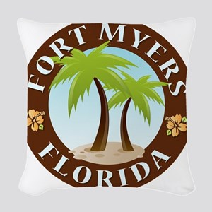 Palm-trees-Fort-Myers-Beach Woven Throw Pillow