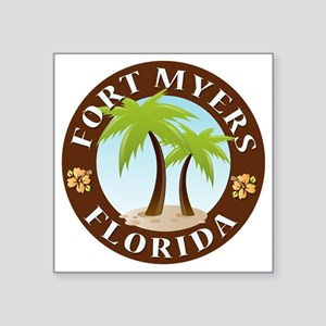 "Palm-trees-Fort-Myers-Beach Square Sticker 3"" x 3"""