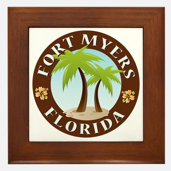 Palm-trees-Fort-Myers-Beach Framed Tile