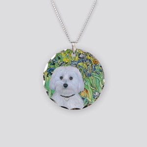 Irises - Maltese (B) - squar Necklace Circle Charm
